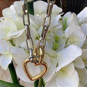 Colar elos corrente coração ródio e ouro