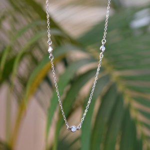 Colar corrente Tiffany cristal ródio semijoia