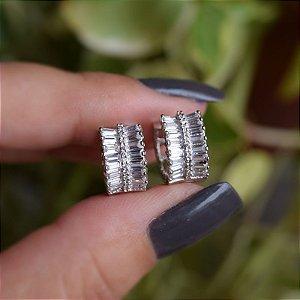 Brinco argolinha zircônia cristal ródio semijoia 19K07013