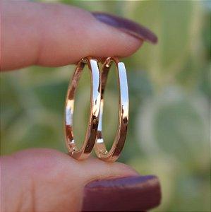 Brinco argola ouro liso semijoia 17K13013