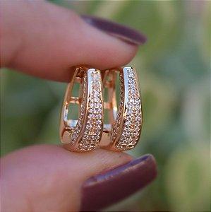 Brinco argolinha zircônia cristal ouro semijoia 19K07054