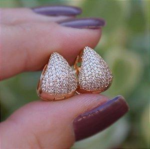 Brinco argolinha zircônia cristal ouro semijoia 19K04013