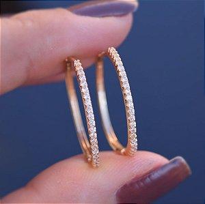 Brinco argola p zircônia cristal ouro semijoia 19A12066