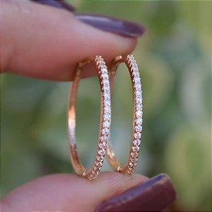 Brinco argola m zircônia cristal ouro semijoia 19A09017