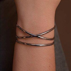 Bracelete cruzado ródio semijoia