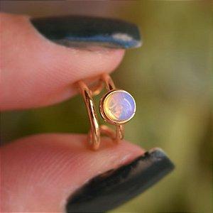Piercing de encaixe individual pedra natural opalina ouro semijoia