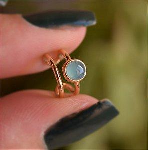 Piercing de encaixe individual pedra natural ágata azul céu ouro semijoia