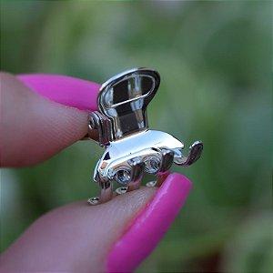 Piranha de cabelo pequeno metal prateado J030-R