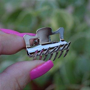 Piranha de cabelo pequena metal prateado J018-26R