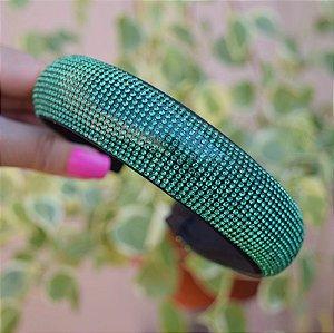 Tiara larga acolchoada cristais verde