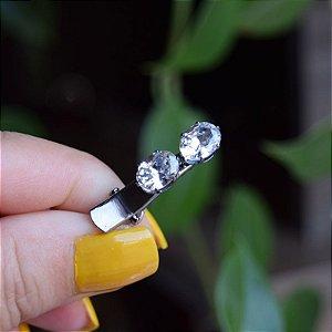 Presilha bico de pato infantil metal grafite com cristais 549965