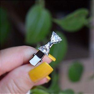Presilha bico de pato infantil metal grafite com cristais 549966
