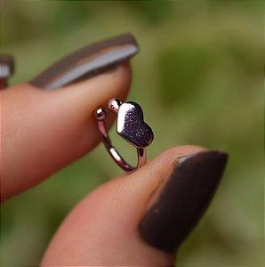 Piercing de encaixe coração lilás semijoia