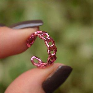 Piercing de encaixe corrente rosa semijoia