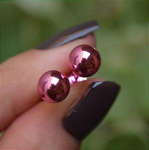 Brinco esfera rosa semijoia