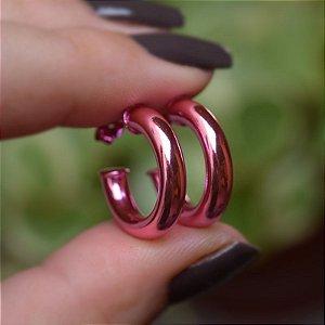 Brinco argola tubo m rosa semijoia