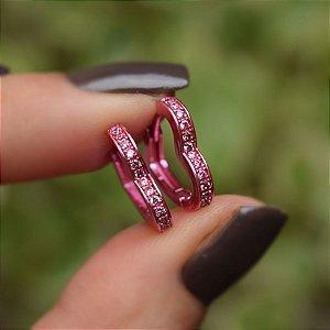 Brinco argola coração g zircônia rosa semjoia