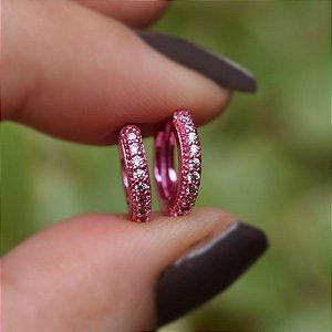 Brinco argolinha segundo furo rosa zircônia semijoia