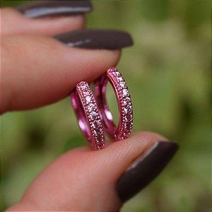 Brinco argolinha rosa zircônia semijoia