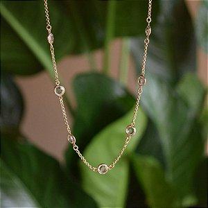 Colar corrente cristais ouro semijoia