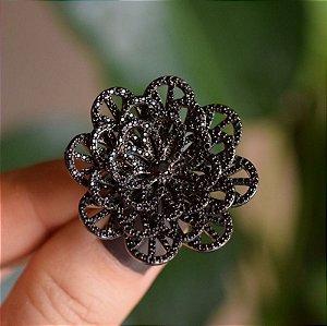 Anel flor zircônia black ródio negro semijoia