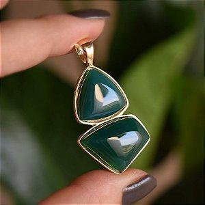 Pingente geométrico pedra natural ágata verde ouro semijoia
