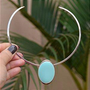 Colar aro Lázara Design medalha azul céu esmaltado prateado