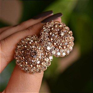 Brinco Iza Perobelli cristais dourado