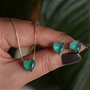 Colar e brinco coração cristal turmalina verde ouro semijoia