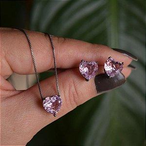 Colar e brinco coração cristal fusion rosa ródio negro semijoia