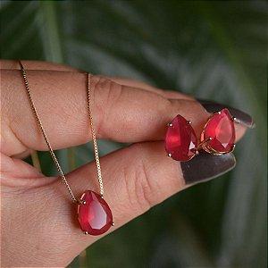 Colar e brinco gota cristal fusion rosa magenta ouro semijoia
