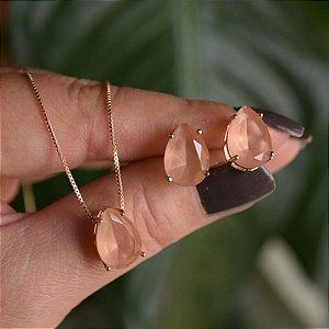 Colar e brinco gota cristal fusion morganita ouro semijoia