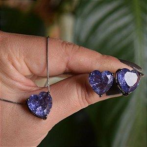 Colar e brinco coração cristal fusion roxo ródio negro semijoia
