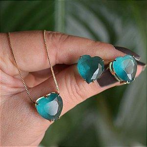 Colar e brinco coração cristal fusion turmalina azul ouro semijoia