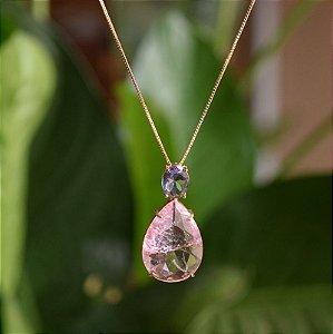 Colar gota cristais fusion lilás e rosa ouro semijoia