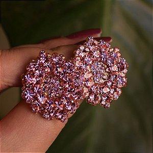 Brinco Leticia Sarabia médio cristal rosa claro