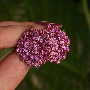 Brinco Leticia Sarabia médio cristal rosa