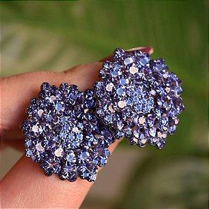 Brinco Leticia Sarabia médio cristal lilás