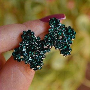 Brinco Leticia Sarabia quadrado curvas cristal verde esmeralda
