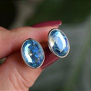 Brinco oval Leticia Sarabia cristal azul claro