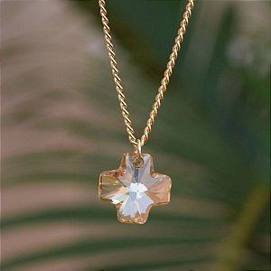 Colar Leticia Sarabia cristal swarovski dourado