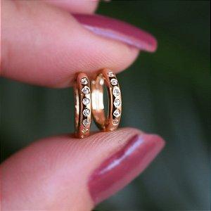 Brinco argolinha zircônia ouro semijoia 19K14047