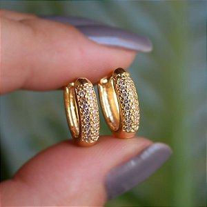 Brinco argolinha zircônia ouro semijoia