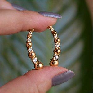 Brinco ear cuff esferas e zircônias ouro semijoia