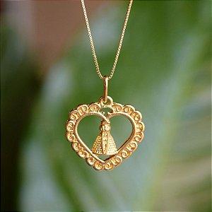 Colar Nossa Senhora Aparecida vazada ouro semijoia