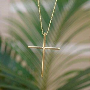 Colar crucifixo palito ouro semijoia