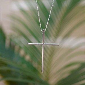Colar crucifixo palito ródio semijoia