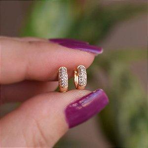 Brinco argolinha segundo furo zircônia ouro semijoia 17K08003