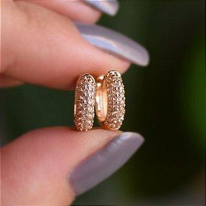 Brinco argolinha zircônia ouro semijoia 19A08019