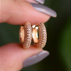 Brinco argolinha zircônia ouro semijoia 19A08020